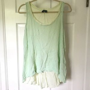 Pale Green High-Low Tank Top